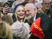 Jeremy Corbyn Labour Party general Election campaign, Blyth, Northumberland. Posing for a selfie - Mark Pinder - 2010s,2017,CAMERA,camera phone,cameras,campaign,campaigning,CAMPAIGNS,CELLULAR,DEMOCRACY,ELECTION,elections,FEMALE,General Election,Jeremy Corbyn,Labour Party,Left,left wing,Leftwing,male,man,men,mobi