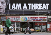 Theresa May I Am A Threat billboard by The Peoples Assembly Against Austerity, Nottingham. Dont Vote Conservative On June 8th - John Harris - People's Assembly Against Austerity,2010s,2017,advertisement,advertisements,advertising,against,anti,Assembly,Austerity,Austerity Cuts,billboard,billboards,campaign,campaigning,CAMPAIGNS,cities,City,C
