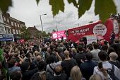 Jeremy Corbyn Labour Party rally on the last day of campaigning before the General Election, Harrow, London - Jess Hurd - 2010s,2017,bus,bus service,buses,campaign,campaigning,CAMPAIGNS,cities,City,DEMOCRACY,ELECTION,elections,General Election,Harrow,Jeremy Corbyn,Labour Party,Left,left wing,Leftwing,London,male,man,men,