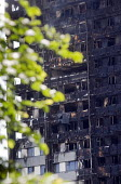 Grenfell Tower Fire. Burned out flats at Grenfell Tower after the raging inferno that engulfed the West London tower block resulting in the loss of many lives - Stefano Cagnoni - 14-06-2017