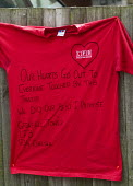 LFB T-Shirt left by firefighters from G34 Chelsea who fought the Grenfell Tower fire with their message of support, of love and solidarity in memory of the victims of the tragedy We did our best I pro... - Stefano Cagnoni - 2010s,2017,accident,accidental,ACCIDENTS,adult,adults,blocks,bouquet,cities,City,COMMEMORATE,COMMEMORATING,commemoration,COMMEMORATIONS,commemorative,condolence,Council Housing,Council Housing,death,d