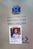 Grenfell Tower Fire. Missing Poster for school pupil Jessica Urbano placed on Royal Borough Of Kensington and Chelsea sign at Town Hall by her family and friends still searching for her three days aft... - Stefano Cagnoni - Missing person, Missing persons,2010s,2017,accident,accidental,ACCIDENTS,BAME,BAMEs,Black,blocks,BME,bmes,child,CHILDHOOD,children,cities,City,Council Housing,Council Housing,death,deaths,DIA,died,dis