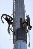 Contractors cladding a wind Turbine, Turo, Cornwall - John Harris - 20-06-2017