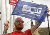 NUT supporter of Jeremy Corbyn at the rally, Not One Day More protest demanding the Tory Government go and an end to austerity policies - Stefano Cagnoni - 2010s,2017,activist,activists,against,anti,austerity,Austerity Cuts,CAMPAIGN,campaigner,campaigners,CAMPAIGNING,CAMPAIGNS,cities,City,Corbyn,Corbynista,demonstrate demonstrating,DEMONSTRATING,Demonstr