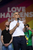 London Mayor, Sadiq Khan speaking Pride in London, Love Happens Here, Trafalgar Square, London. - Jess Hurd - 08-07-2017