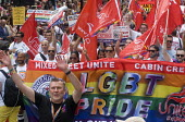 Pride 2017. UNITE members of British Airways Cabin Crew on Gay Pride celebration and march London - Stefano Cagnoni - 2010s,2017,ACE,BA,BAME,BAMEs,banner,banners,Black,Black and White,BME,bmes,British Airways,cabin crew,CELEBRATE,celebrating,celebration,CELEBRATIONS,COLOR,colors,colour,colours,Crew,Culture,diversity,