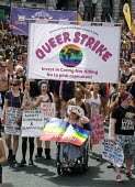 Pride 2017. LGBTQ for Corbyn supporters at Gay Pride celebration and march London. Queer Strike - Stefano Cagnoni - 2010s,2017,ACE,BAME,BAMEs,banner,banners,Black,Black and White,BME,bmes,CELEBRATE,celebrating,celebration,CELEBRATIONS,COLOR,colors,colour,colours,Corbyn,Culture,diversity,equal,equality,ethnic,ethnic