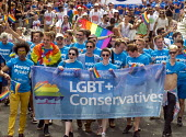 Pride 2017. Conservative Party supporters at Gay Pride celebration and march London - Stefano Cagnoni - 2010s,2017,ACE,banner,banners,CELEBRATE,celebrating,celebration,CELEBRATIONS,COLOR,colors,colour,colours,CONSERVATIVE,Conservative Party,conservatives,Culture,equal,equality,FEMALE,Gay,Gay Pride,gays,