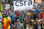 Pride 2017. CSRA Civil servants at Gay Pride celebration and march London - Stefano Cagnoni - 2010s,2017,ACE,banner,banners,CELEBRATE,celebrating,celebration,CELEBRATIONS,civil servant,civil servants,Civil Service,COLOR,colors,colour,colours,Culture,equal,equality,FEMALE,Gay,Gay Pride,gays,hom