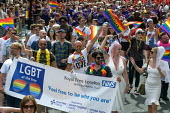 Pride 2017. NHS staff from Royal Free London Trust at Gay Pride celebration and march London - Stefano Cagnoni - 2010s,2017,ACE,banner,banners,CELEBRATE,celebrating,celebration,CELEBRATIONS,COLOR,colors,colour,colours,Culture,equal,FEMALE,Gay,Gay Pride,gays,HEALTH SERVICES,healthcare,homosexual,homosexuality,Hom