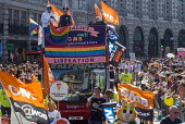 Pride 2017. GMB Trade union members at Gay Pride celebration and march London - Stefano Cagnoni - 2010s,2017,ACE,banner,banners,CELEBRATE,celebrating,celebration,CELEBRATIONS,COLOR,colors,colour,colours,Culture,equal,equality,Gay,Gay Pride,gays,gender,GMB,homosexual,homosexuality,Homosexuals,Lesbi