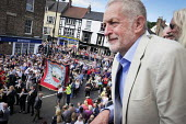 Jeremy Corbyn, Tosh McDonald ASLEF, Durham Miners Gala, Durham 2017 - Mark Pinder - 2010s,2017,ACE,ASLEF,banner,banners,County Durham,Culture,Durham Miners Gala,Jeremy Corbyn,Labour Party,member,member members,members,MINER,Miners,MINER'S,NUM,people,POL,political,POLITICIAN,POLITICIA