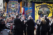 Durham Miners Gala, Durham 2017 - Mark Pinder - 2010s,2017,ACE,banner,banners,County Durham,Culture,Durham Miners Gala,member,member members,members,MINER,Miners,MINER'S,NUM,play,playing,Trade Union,Trade Union,Trade Unions,Trades Union,Trades Unio