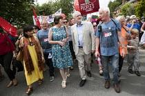 Frances OGrady TUC, Jeremy Corbyn and Nigel Costley TUC, Tolpuddle Martyrs Festival, Dorset - Jess Hurd - 16-07-2017
