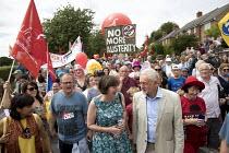 Paul Nowak, Frances OGrady TUC and Jeremy Corbyn, Tolpuddle Martyrs Festival, Dorset - Jess Hurd - 16-07-2017