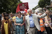 Frances OGrady TUC and Jeremy Corbyn, Tolpuddle Martyrs Festival, Dorset - Jess Hurd - 2010s,2017,ACE,BAME,BAMEs,banner,banners,Black,Black and White,BME,bmes,diversity,Dorset,ethnic,ethnicity,FEMALE,Festival,festivals,gen sec,Jeremy Corbyn,Labour Party,Left,left wing,Leftwing,male,man,