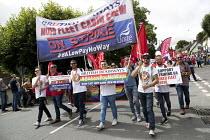 Mixed Fleet BA Cabin Crew on strike banner, Tolpuddle Martyrs Festival, Dorset. - Jess Hurd - 16-07-2017