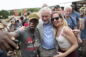 Selfie with Jeremy Corbyn, Tolpuddle Martyrs Festival, Dorset. - Jess Hurd - 2010s,2017,ACE,BAME,BAMEs,Black,Black and White,BME,bmes,camera,camera phone,cameras,diversity,Dorset,ethnic,ethnicity,FBU,FEMALE,Festival,festivals,Jeremy Corbyn,Labour Party,Left,left wing,Leftwing,
