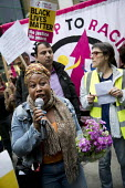 Claire Grey, local teacher speaking, Justice for Rashan Charles protest, who died after being chased by police, Stoke Newington, London - Jess Hurd - 24-07-2017