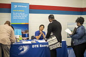 "Detroit, Michigan USA Job seekers at a UAW union hall job fair ""Expungements, Pardons and Jobs. Companies billed as ""ex-felon friendly"" attending. Ex prisoners find it difficult to find work because o... - Jim West - 05-08-2017"