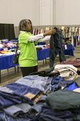Detroit, Michigan USA Free second hand clothing for patients at the Motor City Medical Mission, a free three day medical clinic sponsored by the Adventist Medical Evangelism Network - Jim West - 09-08-2017