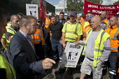 Howard Beckett Unite speaking to members. Birmingham council refuse workers go on strike against redundancies, Perry Barr Depot, Birmingham. Birmingham City Council want to save 600,000 a year by axin... - John Harris - 2010s,2017,against,Austerity Cuts,bin man,bin man binmen,bin men,binman,binmen,Birmingham,cities,City,collection,collector,council,Council Services,council service,Council Services,Council Workers,dis