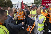 Howard Beckett Unite speaking to members. Birmingham council refuse workers go on strike against redundancies, Perry Barr Depot, Birmingham. Birmingham City Council want to save �600,000 a year by axi... - John Harris - 2010s,2017,against,Austerity Cuts,bin man,bin man binmen,bin men,binman,binmen,Birmingham,cities,City,collection,collector,council,Council Services,council service,Council Services,Council Workers,dis