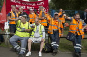 Birmingham council refuse workers go on strike against redundancies, Perry Barr Depot, Birmingham. Birmingham City Council want to save 600,000 a year by axing 113 grade three bin men and replacing th... - John Harris - 2010s,2017,against,Austerity Cuts,banner,banners,bin man,bin man binmen,bin men,binman,binmen,Birmingham,cities,City,collection,collector,council,Council Services,council service,Council Services,Coun