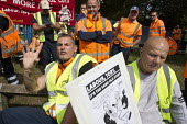Birmingham council refuse workers go on strike against redundancies, Perry Barr Depot, Birmingham. Birmingham City Council want to save 600,000 a year by axing 113 grade three bin men and replacing th... - John Harris - 2010s,2017,against,Austerity Cuts,bin man,bin man binmen,bin men,binman,binmen,Birmingham,cities,City,collection,collector,communism,Communist Party,council,Council Services,council service,Council Se