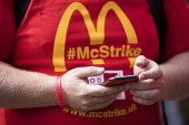 Rally outside McDonalds HQ ahead of a strike by workers, East Finchley, London. Fast Food Rights Campaign want 10 pounds an hour, end to zero hour contracts and union rights - Jess Hurd - 02-09-2017