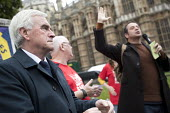 John McDonnell, Ronnie Draper and Mark Thomas speaking at McDonalds workers strike rally, Westminster, London. Fast Food Rights Campaign want 10 pounds an hour, end to zero hour contracts and union ri... - Jess Hurd - 04-09-2017