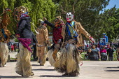 Greenfield, California, USA Dancers from Oaxaca, now living as migrants in the United States, performing the Danza de los Diablos, the Dance of the Devils, from the Mixteca region of Oaxaca, at a fest... - David Bacon - 22-04-2017