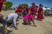 Greenfield, California, USA Migrants from Oaxaca dancing at a festival of Oaxacan indigenous culture in the Salinas Valley where many Triquis have settled. Triqui women from the Mixteca region of Oaxa... - David Bacon - 22-04-2017