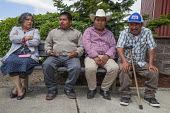 Burlington, Washington, USA Members of Familias Unidas por la Justicia waiting to sign a contract negotiated with Sakuma Brothers Farms, with Danny Weeden, general manager of the company, after four y... - David Bacon - 16-06-2017