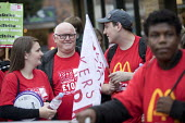 Ronnie Draper BFAWU, McDonalds workers strike, Crayford, South East London. Fast Food Rights Campaign want 10 pounds an hour, end to zero hour contracts and union rights - Jess Hurd - 04-09-2017
