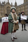Campaigners dressed up in Tudor costume to protest against the EU Withdrawal Bill with controversial powers called Henry VIII clauses, organised by Another Europe is Possible, Westminster, London. Don... - Jess Hurd - 07-09-2017
