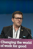 Huber Ballesteros speaking TUC Congress, Brighton 2017 - John Harris - 2010s,2017,Colombian,Colombian trade union congress,Conference,conferences,CUT,FENSUAGRO,Huber Ballesteros,member,member members,members,SPEAKER,SPEAKERS,speaking,SPEECH,Trade Union,Trade Union,Trade