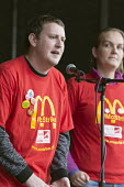 McDonalds strikers speaking in solidarity. Rally supporting bin workers strike, Victoria Square, Birmingham. The Labour council have issued redundancies to 113 binmen - John Harris - 2010s,2017,ACTIVIST,ACTIVISTS,against,bin man,bin man binmen,bin men,binman,binmen,CAMPAIGN,campaigner,campaigners,CAMPAIGNING,CAMPAIGNS,cities,City,collection,collector,collectors,contract,council,co