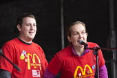 McDonalds strikers speaking in solidarity. Rally supporting bin workers strike, Victoria Square, Birmingham. The Labour council have issued redundancies to 113 binmen - John Harris - 17-09-2017