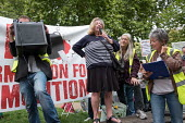 Northumberland Park Estate resident Lynn speaking, StopHDV protest against proposed privatisation of Haringey council estates, Tottenham, London - Philip Wolmuth - 23-09-2017