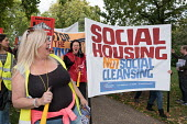 Social Housing Not Social Cleansing. StopHDV protest against proposed privatisation of Haringey council estates, Tottenham, London - Philip Wolmuth - 2010s,2017,activist,activists,against,Anti privatisation,Anti privatisation,anti privatization,apartments,banner,banners,campaign,campaigning,CAMPAIGNS,communities,community,council,council housing,Co