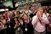 UNISON delegates standing ovation, Labour Party Conference, Brighton 2017 - Jess Hurd - 2010s,2017,applauding,applause,BAME,BAMEs,BEMM,BEMMS,Black,Black and White,BME,bmes,Brighton,Conference,conferences,delegate,delegates,delegation,diversity,ethnic,ethnicity,FEMALE,Labour Party Confere