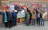 Laxmi Ben Patel a former striker. Unveiling of the Grunwick 40 community mural, Chapter Road, Brent north London opposite the site of the former Grunwick Factory and the union recognition dispute 40 y... - Stefano Cagnoni - 2010s,2017,ACE,Anna Ferrie,APEX,art,arts,artwork,artworks,Asian,Asians,BAME,BAMEs,BEMM,BEMMS,Black,BME,bmes,COMMEMORATE,COMMEMORATING,commemoration,COMMEMORATIONS,commemorative,communities,community,c