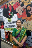 Laxmi Ben Patel a former striker, unveiling of the Grunwick 40 community mural, Chapter Road, Brent north London opposite the site of the former Grunwick Factory and the union recognition dispute 40 y... - Stefano Cagnoni - 2010s,2017,ACE,Anna Ferrie,APEX,art,arts,artwork,artworks,Asian,Asians,BAME,BAMEs,BEMM,BEMMS,Black,BME,bmes,COMMEMORATE,COMMEMORATING,commemoration,COMMEMORATIONS,commemorative,communities,community,c