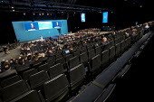 Michael Gove speaking to a half empty hall, Conservative Party Conference, Manchester 2017 - Jess Hurd - 2010s,2017,Conference,conferences,CONSERVATIVE,Conservative Party,Conservative Party Conference,conservatives,delegate,delegates,empty,Manchester,Michael Gove,MP,MPs,Party,POL,political,politician,pol