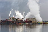 Sault Ste. Marie, Ontario, Canada Algoma steel mill on the shore of the St. Marys River - Jim West - 2010s,2017,air pollution,Algoma,Algoma Steel,C02 Emissions,Canada,capitalism,chimney,chimneys,Climate Change,coke,dock,docks,dockside,EBF,Economic,Economy,emissions,ENI,environment,Environmental degra
