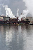 Sault Ste. Marie, Ontario Canada - The Algoma steel mill on the shore of the St. Marys River. - Jim West - 2010s,2017,air pollution,Algoma,Algoma Steel,C02 Emissions,Canada,capitalism,chimney,chimneys,Climate Change,dock,docks,dockside,EBF,Economic,Economy,emissions,ENI,environment,Environmental degradatio