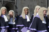 Lord Chancellors breakfast. Traditional procession of Judges to the Houses of Parliament to mark official start of year in the British legal system, London. Circuit Judges in full ceremonial dress fil... - Stefano Cagnoni - 2010s,2017,BAME,BAMEs,BEMM,BEMMS,black,Black and White,BME,bmes,ceremonial dress,ceremonies,ceremony,Circuit Judge,Circuit Judges,cities,City,CLJ,costume,costumes,diversity,dress,elite,elitism,EQUALIT