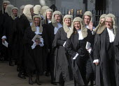 Lord Chancellors breakfast. Traditional procession of Judges to the Houses of Parliament to mark official start of year in the British legal system, London. Queens Counsels in full ceremonial dress fi... - Stefano Cagnoni - 2010s,2017,ceremonial dress,ceremonies,ceremony,cities,City,CLJ,costume,costumes,dress,elite,elitism,EQUALITY,Establishment,FEMALE,gown,gowns,Houses,INEQUALITY,judge,judges,judiciary,justice,law,legal