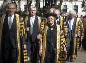 Lord Chancellors breakfast. Traditional procession of Judges to the Houses of Parliament to mark official start of year in the British legal system, London. Lady Hale of Richmond first female Presiden... - Stefano Cagnoni - 2010s,2017,ceremonial dress,ceremonies,ceremony,cities,City,CLJ,costume,costumes,Court,elite,elitism,EQUALITY,FEMALE,gown,gowns,Houses,INEQUALITY,judge,judges,judiciary,justice,Lady Hale,Lady Hale of
